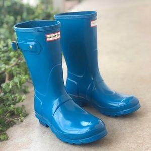 Hunter Original Blue Short Glossy Rain Boots